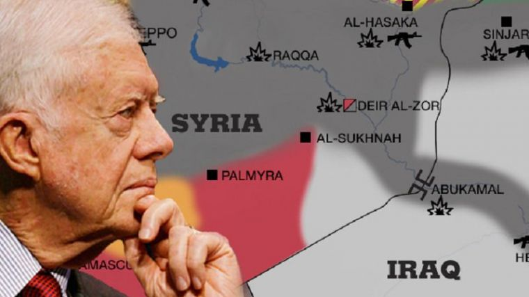 El expresidente Carter entrega a Putin un mapa secreto con las posiciones del Estado Islámico en Siria