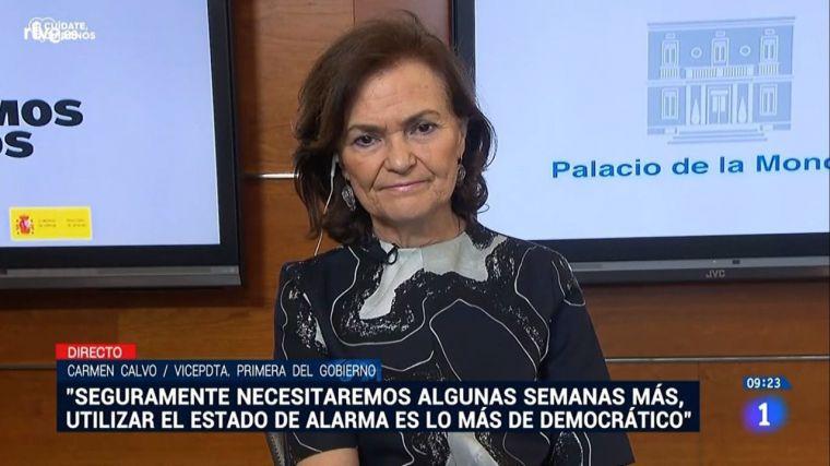 Carmen Calvo carga contra el PP pero se olvida de la traición de ERC y anuncia