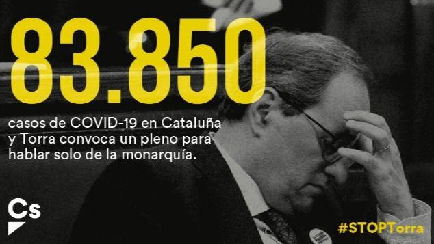 Cs destapa a Torra: Copia a Podemos y anuncia un Pleno sobre la monarquía pese al descontrol de contagios en Cataluña