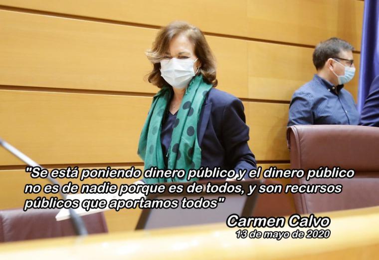 Carmen Calvo admite el 'lío' del Gobierno con los créditos ICO y emula a Rajoy al hacerse un 'lío' al explicarlo