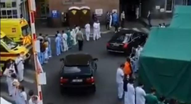 Personal médico protesta contra la Primer Ministra de Bélgica