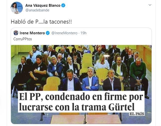 Irene Montero y Ana Vázquez se enzarzan en Twitter: 'Habló de P....la tacones'