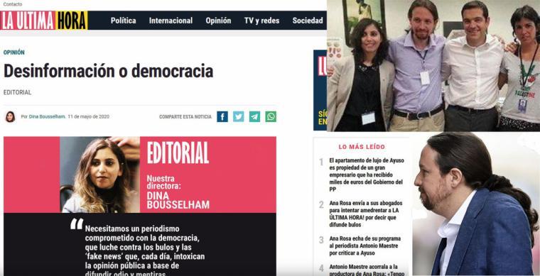 Pablo Iglesias le pone un periódico a su íntima Dina Bousselham, antigua agente de Marruecos