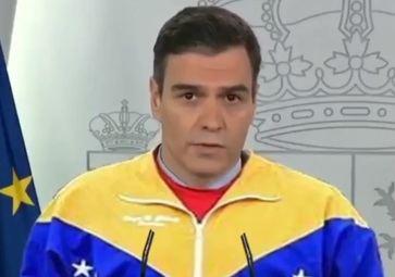 Caricatura de Pedro Sánchez con el chándal y la voz de Nicolás Maduro