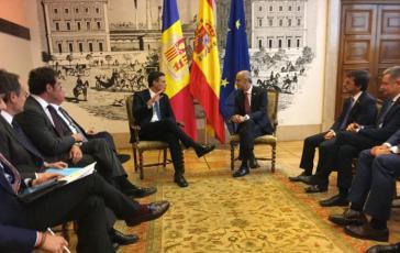 Encuentro entre el ex jefe del Gobierno andorrano, Toni Martí, y el presidente español en funciones, Pedro Sánchez