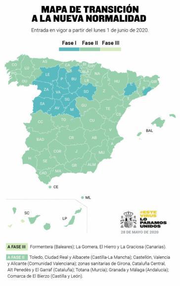 Hacia la 'Nueva Normalidad': Toda España a Fase 2 salvo Castilla y León, Madrid, Barcelona y Lleida