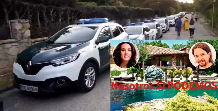 Una caravana de coches de la Guardia Civil protege en Galapagar el chalé de Pablo Iglesias